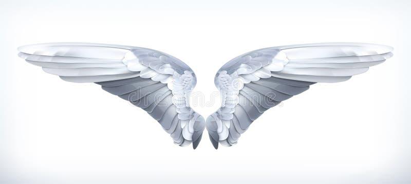 Alas blancas de los ángeles stock de ilustración