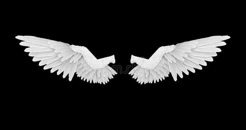 Alas blancas del ángel con un canal alfa stock de ilustración