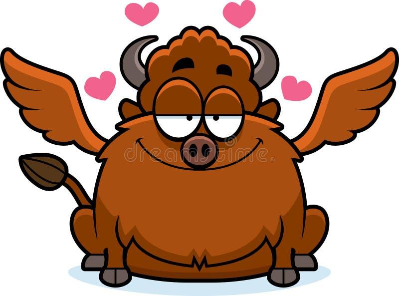 Alas de búfalo de la historieta en amor ilustración del vector
