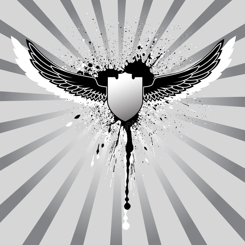 Alas de Grunge e ilustración del blindaje ilustración del vector