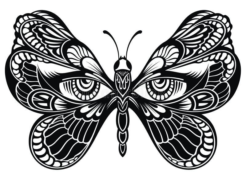 Alas de la mariposa con los ojos humanos Arte del tatuaje stock de ilustración