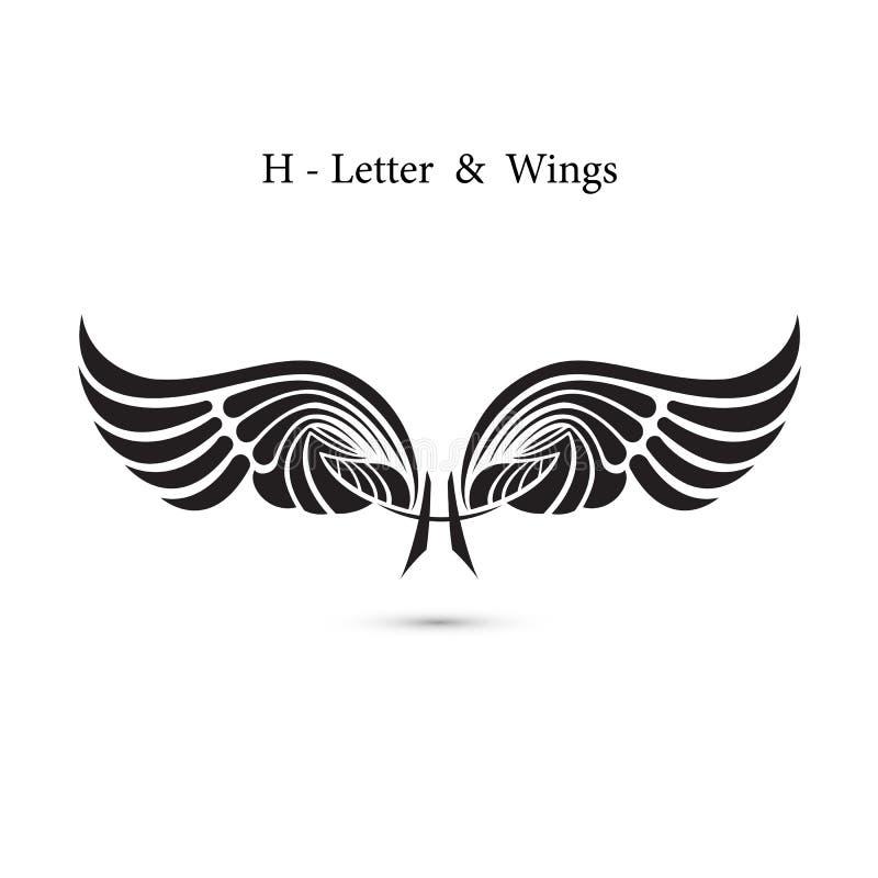 alas de la muestra y del ángel de la H-letra Maqueta del logotipo del ala del monograma clásico ilustración del vector