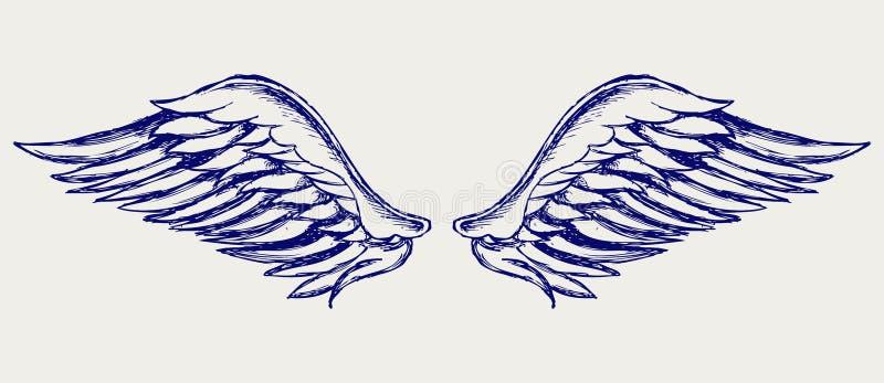 Alas del ángel. Estilo del Doodle ilustración del vector