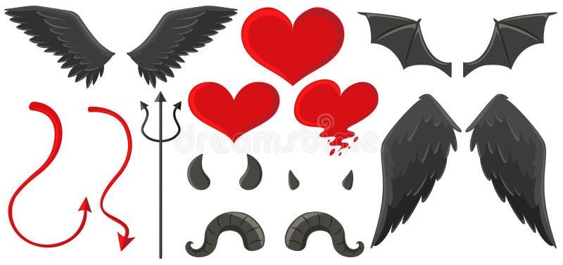 Alas del ángel y cuernos del diablo ilustración del vector