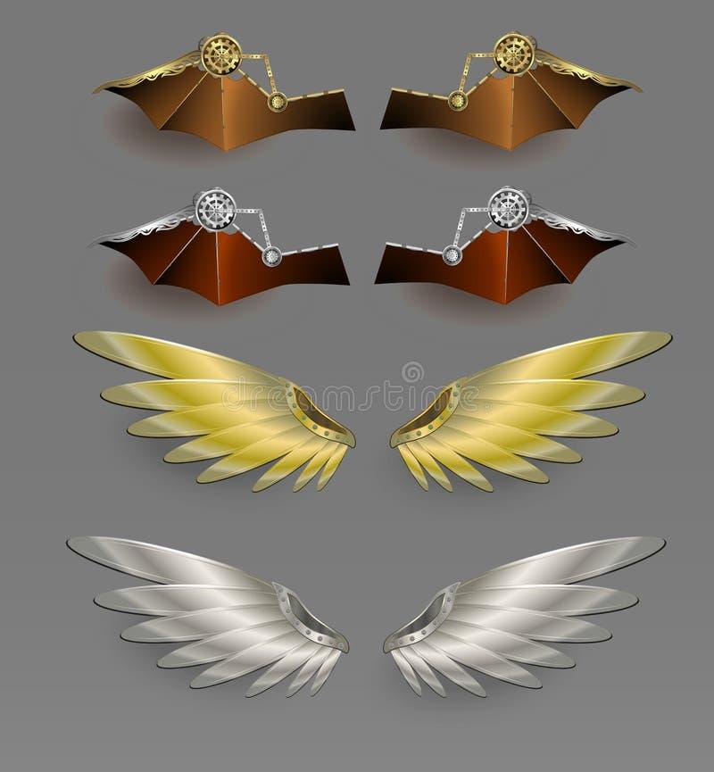 Alas del metal Vector del diseño de Steampunk stock de ilustración