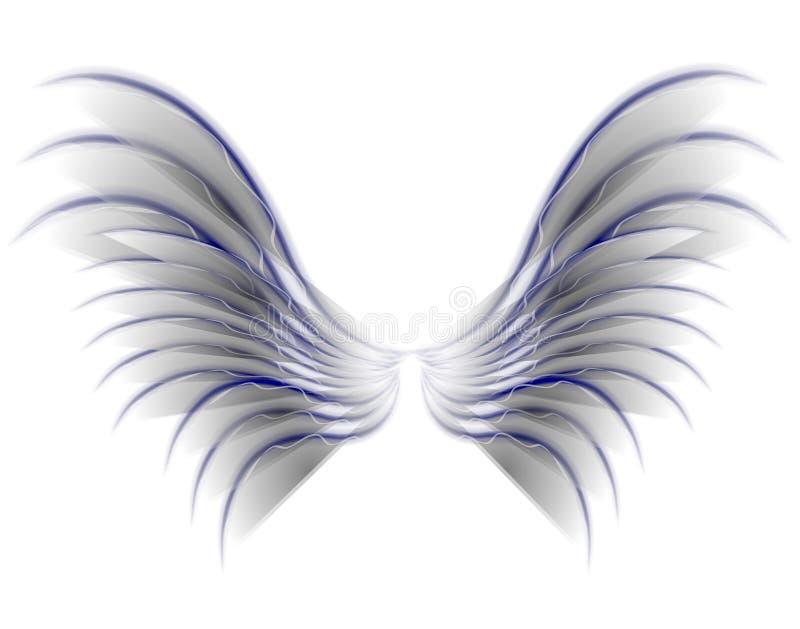 Alas del pájaro o de la hada del ángel grises stock de ilustración