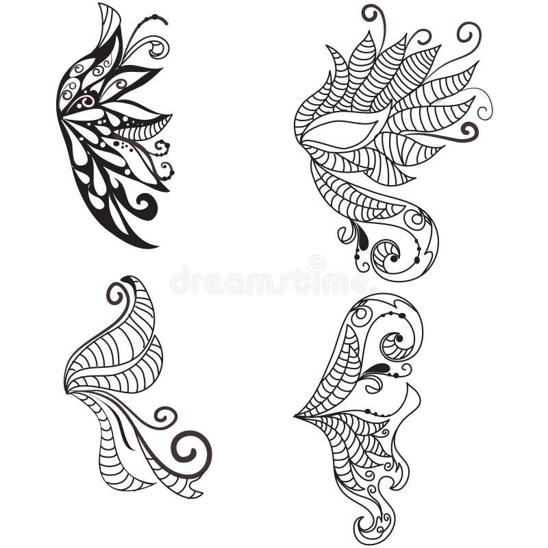 Alas doodled drenadas mano stock de ilustración
