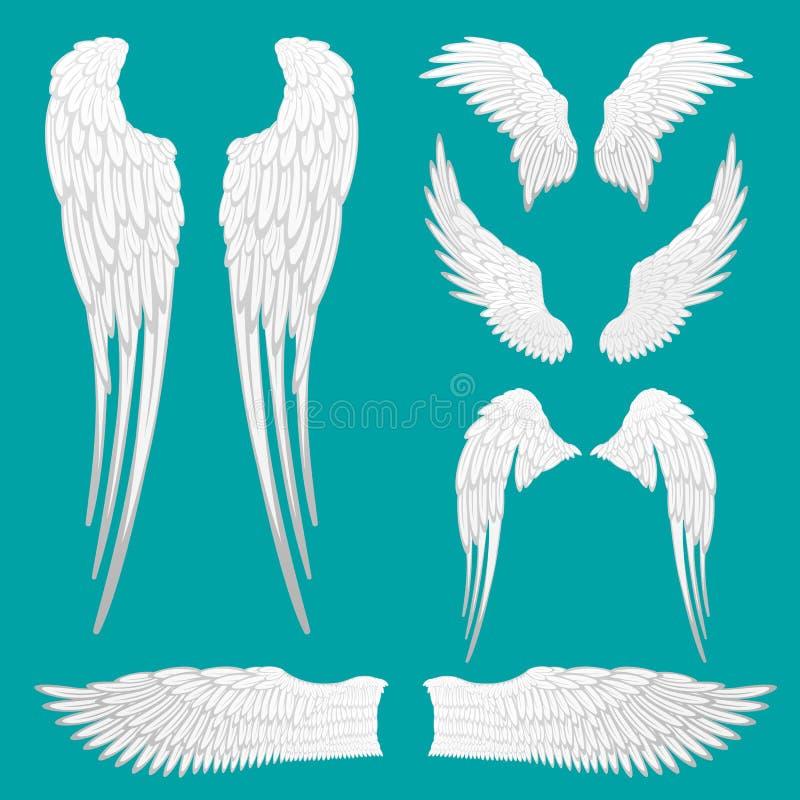 Alas heráldicas fijadas para el diseño del tatuaje o de la mascota stock de ilustración