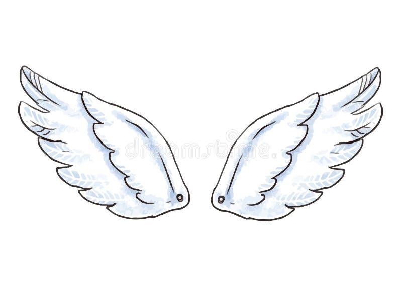 Alas lindas de la historieta Vector el ejemplo con el icono blanco del ala del ángel o del pájaro aislado stock de ilustración