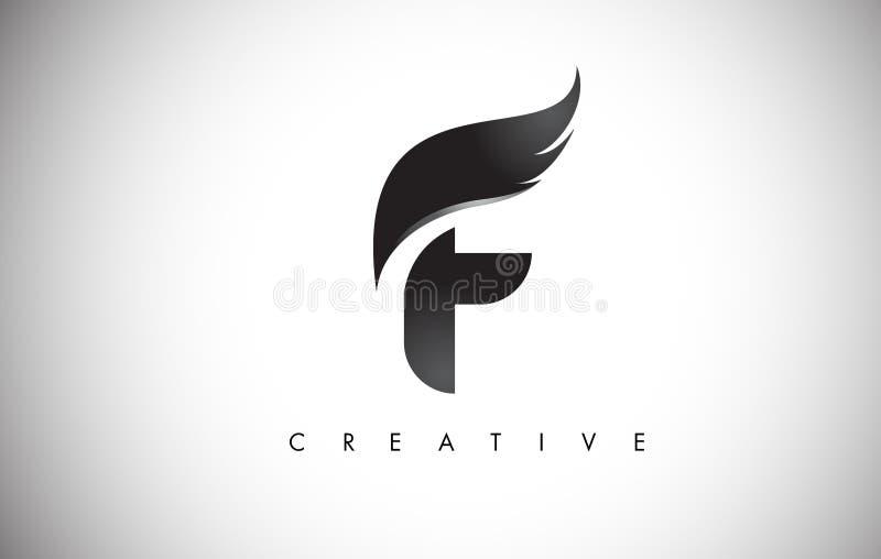 Alas Logo Design de la letra de F con la mosca negra Wing Icon del pájaro ilustración del vector
