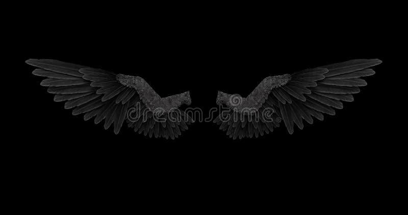 Alas negras del ángel con un canal alfa libre illustration