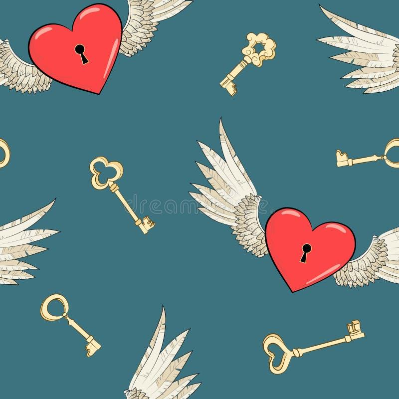 Alas y corazón inconsútiles del vector libre illustration