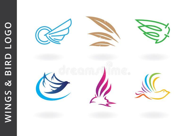 Alas y diseños del logotipo del pájaro ilustración del vector