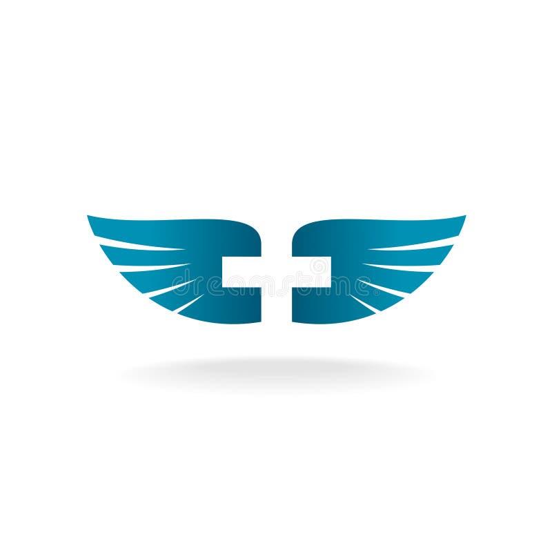 Alas y logotipo cruzado ilustración del vector