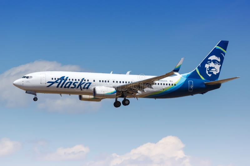 Alaska Airlines Boeing 737-800 airplane. Los Angeles, California – April 12, 2019: Alaska Airlines Boeing 737-800 airplane at Los Angeles airport LAX in stock photo