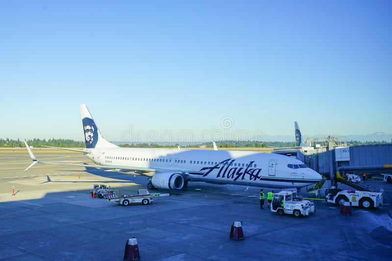 Alaska Airlines. At Seattle International Airport royalty free stock image
