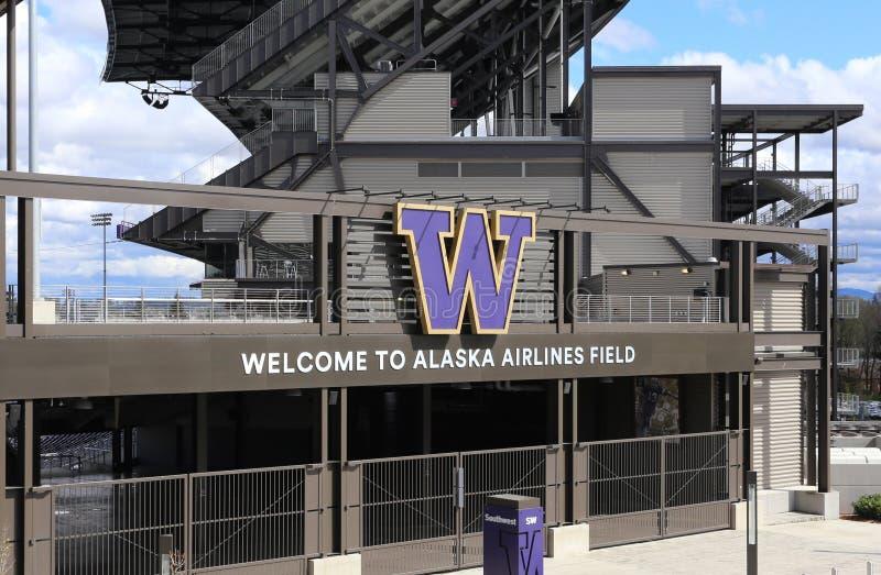 Alaska Airlines sistema a Husky Stadium fotografie stock