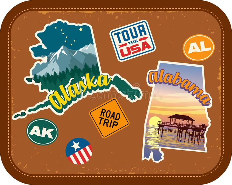 Alaska, Alabama travel stickers with scenic attractions. And retro text on vintage suitcase background royalty free illustration