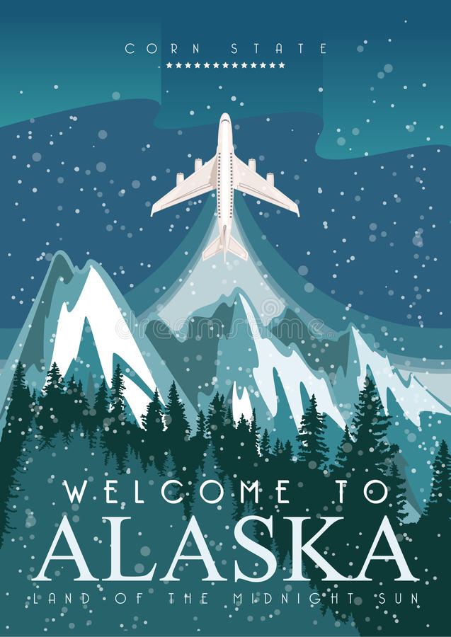 Alaska american travel banner. Night landscape stock illustration