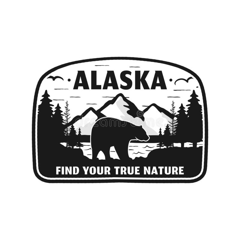 Alaska-Ausweisdesign Bergabenteuerflecken Amerikanisches Reiselogo Netter Retrostil Finden Sie Ihre wahre Natur kundenspezifisch vektor abbildung