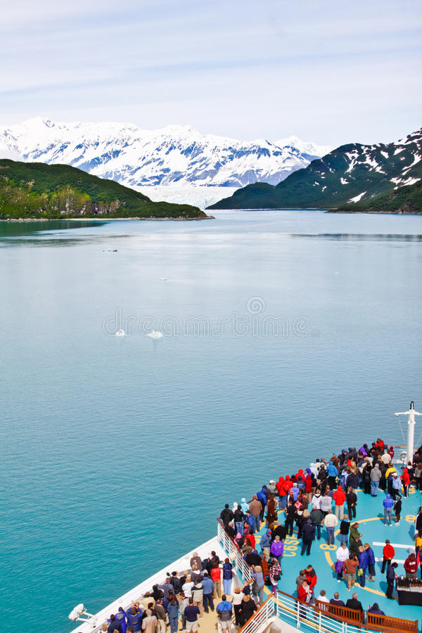 Alaska Cruise Ship Nearing Hubbard Glacier royalty free stock photo