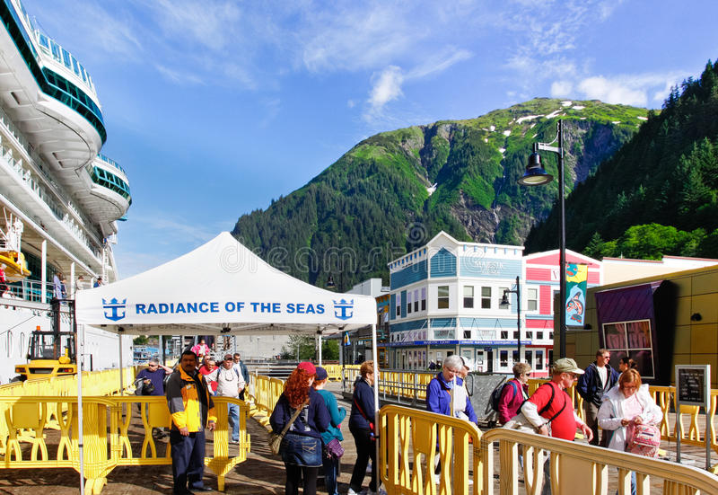 Alaska - Cruise Ship Passengers Juneau Editorial Stock Photo