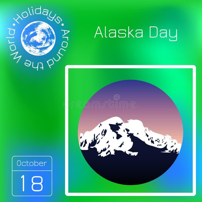 Alaska dag 18 Oktober Tillstånd i USA Bergigt landskap, aftonhimmel rund ram kalender Ferier runt om världen Ev stock illustrationer