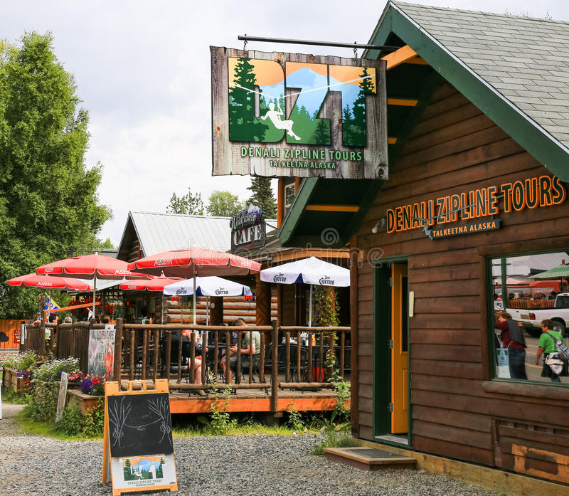 Alaska Denali Zipline Tours Talkeetna. Denali Zipline Tours, and the Wildflower Café in downtown Talkeetna, Alaska. Talkeetna, a small town in the interior of royalty free stock photography