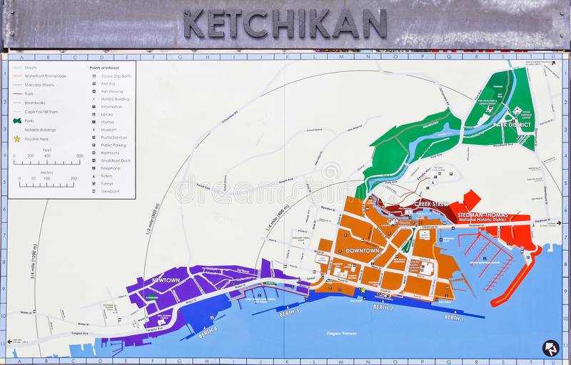 Alaska Downtown Ketchikan Street Map Editorial Stock Photo Image Of Streets American 29310088