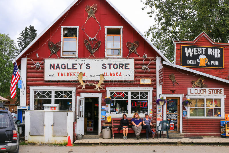 Alaska Downtown Talkeetna Store and Pub. A view of famous Nagley's General Store and the West Rib Pub in downtown Talkeetna, Alaska. Talkeetna, a small town in stock photography