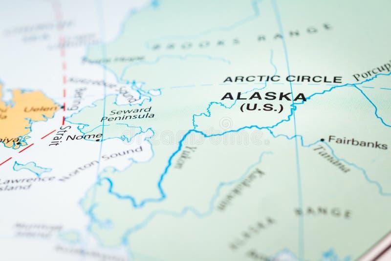 Alaska em um mep imagens de stock royalty free
