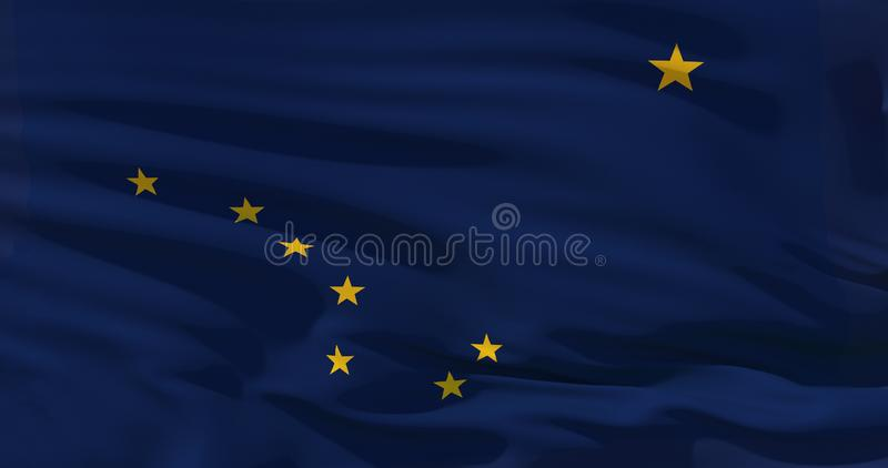Alaska flag on silk texture, United States of America. High quality detailed 3d illustration.  royalty free illustration