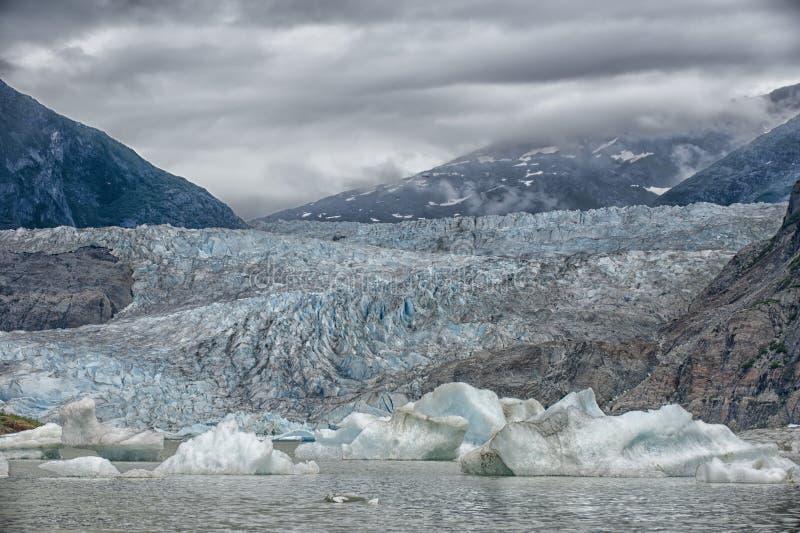 Alaska Glacier Bay View. Alaska mendenhall Glacier near Juneau Panorama royalty free stock photography