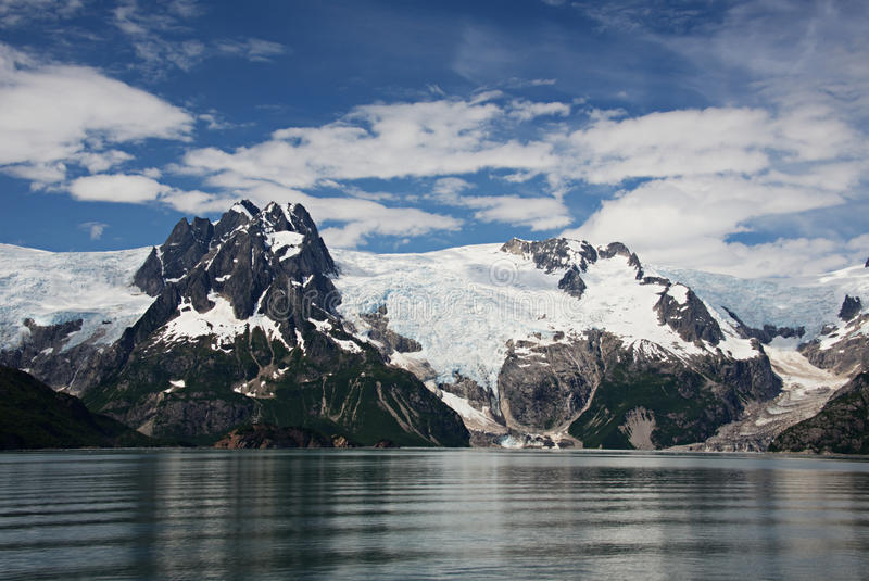 Alaska Glacier from Discovery Bay. View of glacier from Discovery Bay, Alaska stock photos