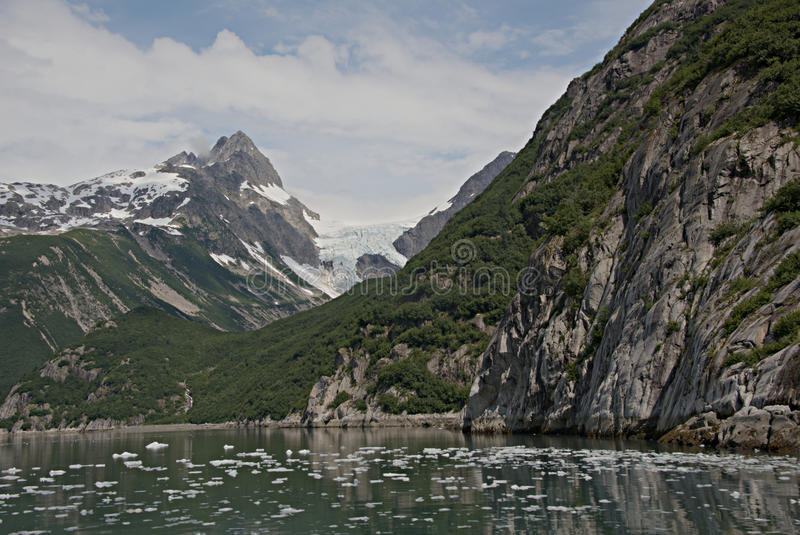 Alaska Glacier from Discovery Bay. View of glacier from Discovery Bay, Alaska stock photo