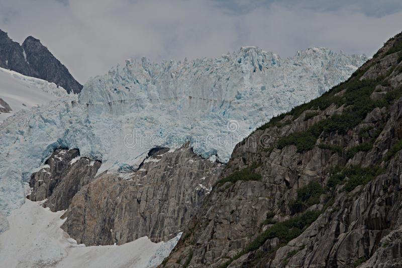 Alaska Glacier from Discovery Bay. View of glacier from Discovery Bay, Alaska royalty free stock photos