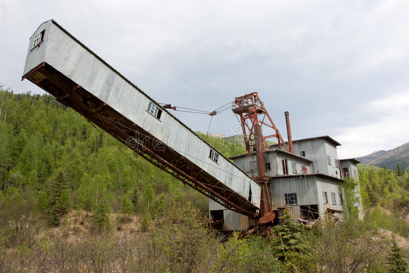 Alaska Gold Mine Dredge. Dredge used in Alaska during gold mining years in Caribou stock photo