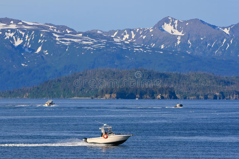 Alaska - Homer Kachemak Bay Fishing Boats. Many visitors to Homer, Alaska come to fish, either commercially or recreationally. Pictured here on Kachemak Bay just royalty free stock photo