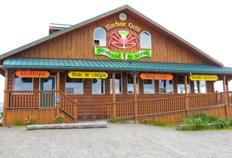 Alaska - Homer Restaurant Harbor Grill. Harbor Grill is one of the more popular places to eat among the tour offices and gift shops along the world famous Homer stock photography