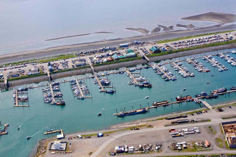 Alaska - Homer Spit Small Boat Harbor Aerial 2. An aerial view of the world famous Homer Spit and the Small Boat Harbor. A common summer cruise ship port of call stock images