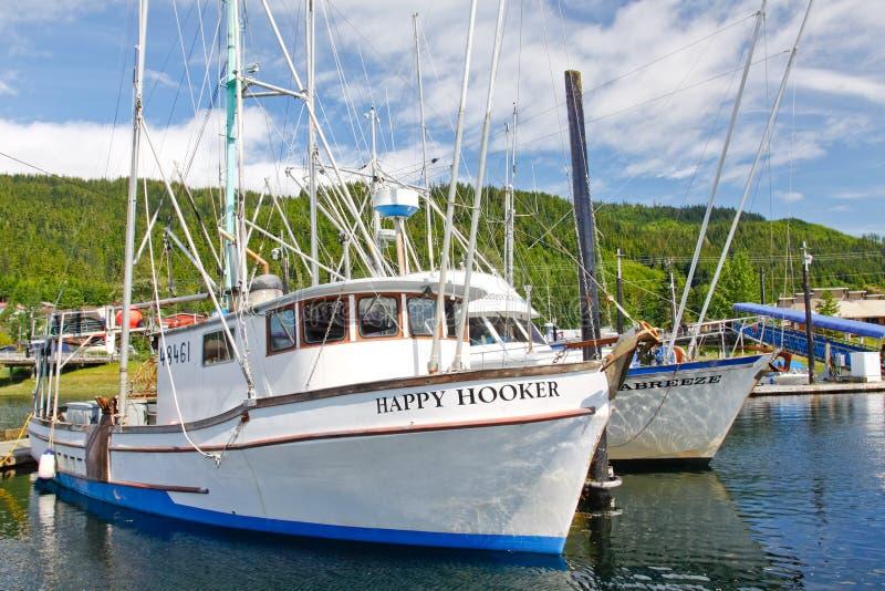 Alaska Hoonah schronienia łodzie rybackie obraz royalty free