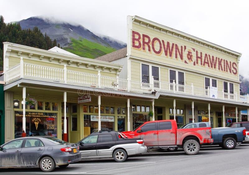 Alaska i stadens centrum Seward monteringsmaraton royaltyfri foto