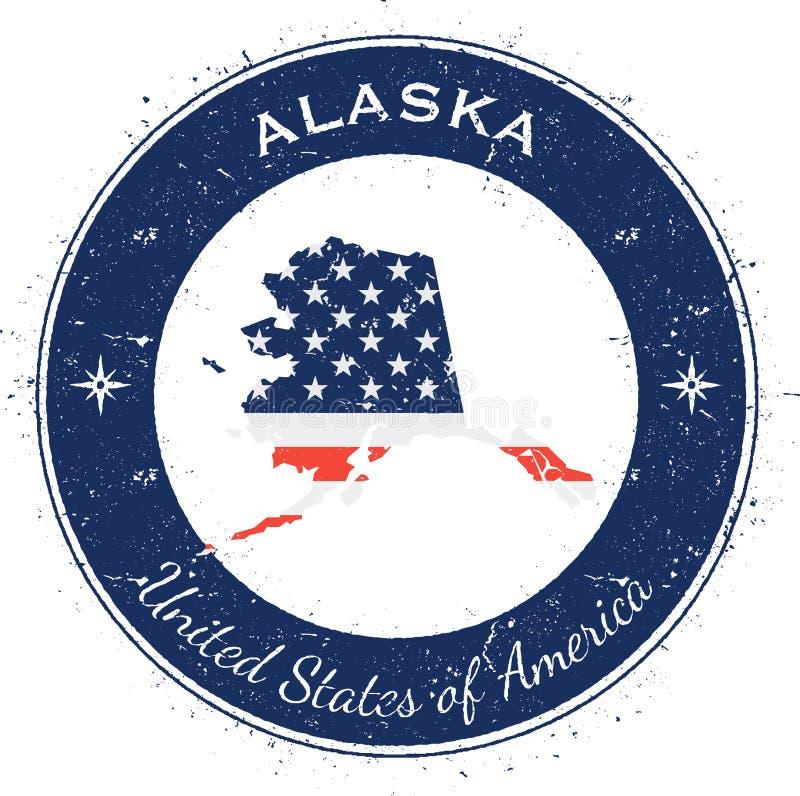 Alaska kółkowa patriotyczna odznaka ilustracja wektor