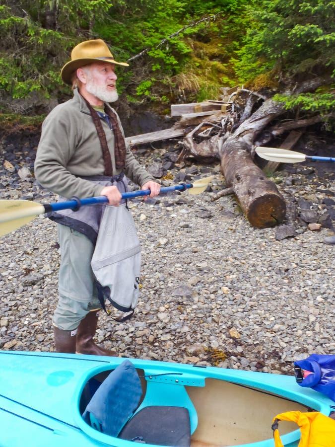 Alaska Kayaking - pre instrução da excursão fotos de stock royalty free