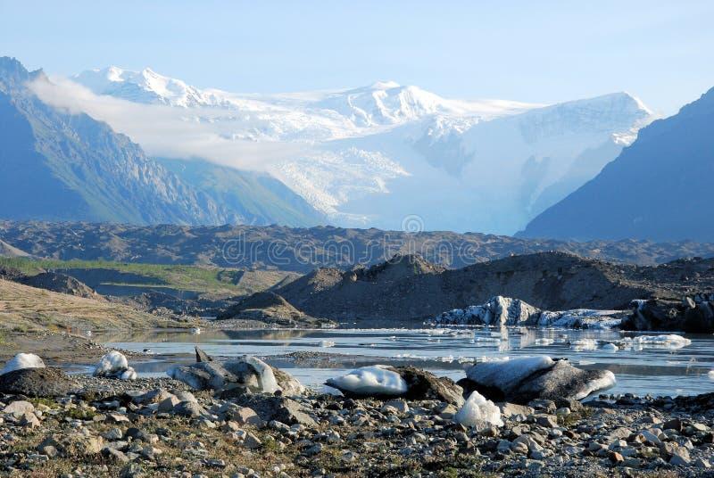 Alaska - Kennicott Glacier with glacial lake - Wrangell St. Elias National Park. McCarthy royalty free stock image