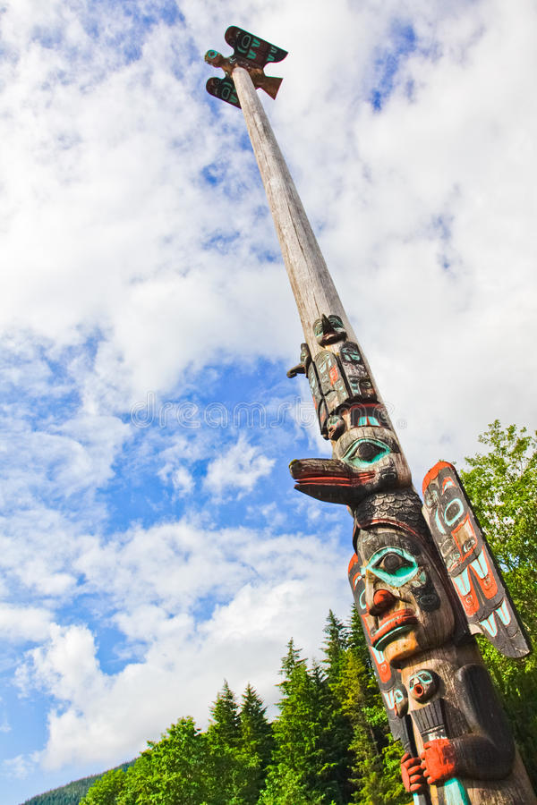 Alaska Ketchikan 55 Foot Tall Tlingit Totem Pole Stock