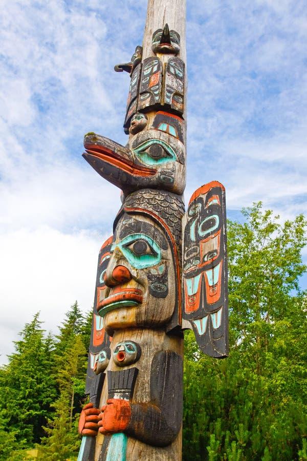 Alaska Ketchikan TlingitTotem Pole royaltyfria foton