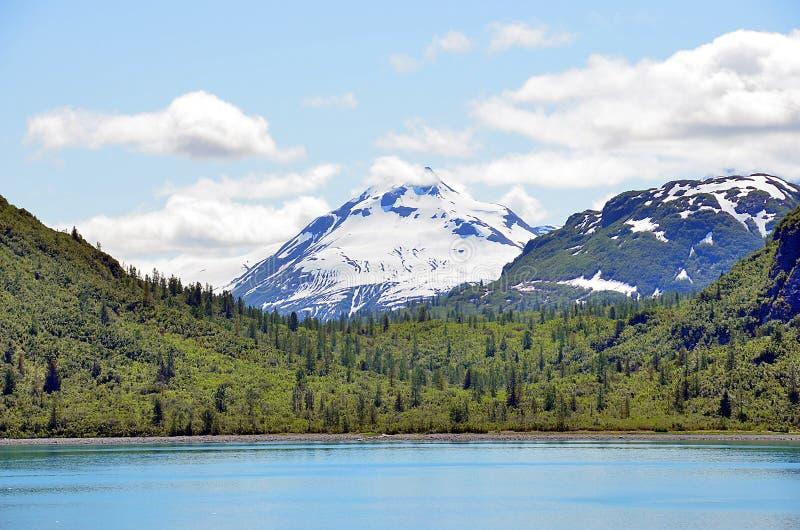 Alaska landskapsjö, berg och skog arkivbild