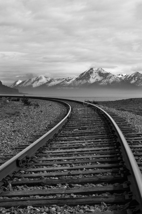 alaska linia kolejowa fotografia royalty free