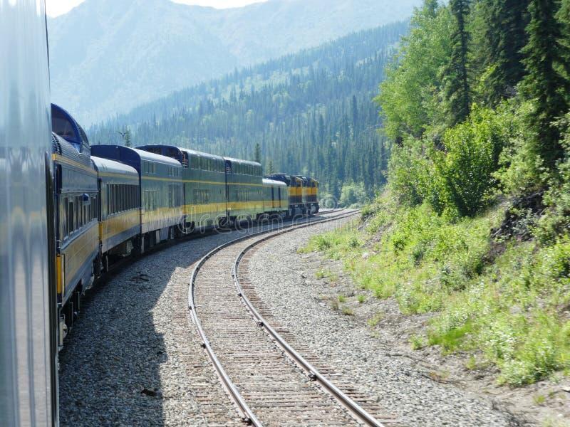 Alaska linii kolejowej southbound pociąg pasażerski zdjęcie royalty free